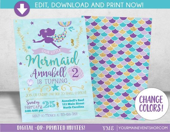 Mermaid Birthday Invitation, Mermaid Invitation, Under The Sea Party Invite, Teal Purple Gold
