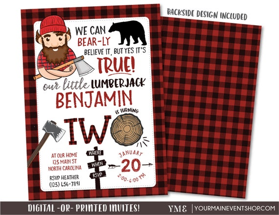 Lumberjack Invitation, Bear Birthday Lumberjack Invitation, Flannel Invitation, Lumber Jack Woodland Invite Printables, Second Birthday 2nd