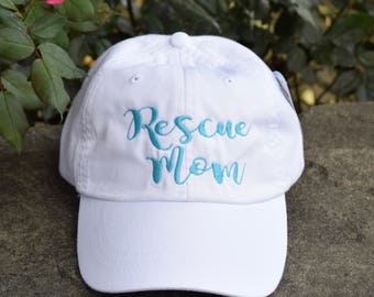 Rescue Dog Mom Baseball Cap -   Custom Dog Lovers Personalized Gift by Three Spoiled Dogs