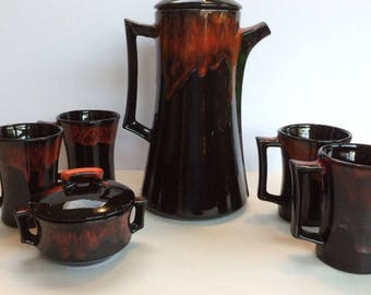 Mid Century Elwill Canadian Pottery Coffee Pot Teapot & Mugs Black and Red Drip Glaze Mint