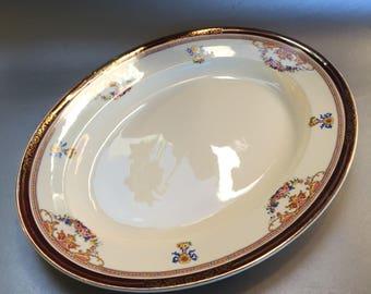 "Antique Alfred Meakin England Bleu de Roi Large 15"" China Serving Platter Tray"