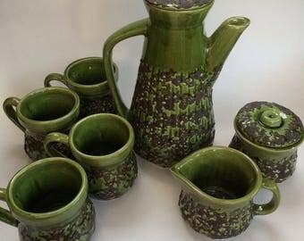 Laurentian Pottery LP Coffee Set, 7 Piece Set Coffee Pot, Cups, Cream and Sugar Mid Century Modern Green Fat lava