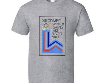 Lake Placid 1980 Winter Olympics Logo T Shirt