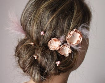set of 8 hair flower beige nude and dusty pink