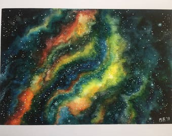 Galaxy/Nebula Space Watercolor Print Heavy paper 7x10 in