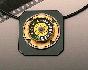 Jewelry Pendant of Old Camera Parts, OOAK, Recycled Upcycled Camera Parts,Numbers Dial, Steampuck Style, Handmade, Old Cameras, Square Metal