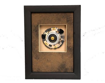 Camera Parts Framed Assemblage Design, Abstract, Photographic Gift,  Shutter Blades, Gears, Rings, Handmade for Photographers and Photo Fans