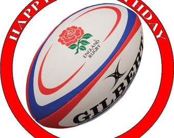 "ENGLAND RUGBY - Design 1... Personalized 7.5"" Edible Circle Icing Cake Topper"