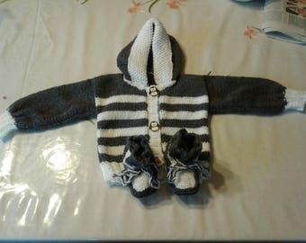 set Cardigan booties 3 months
