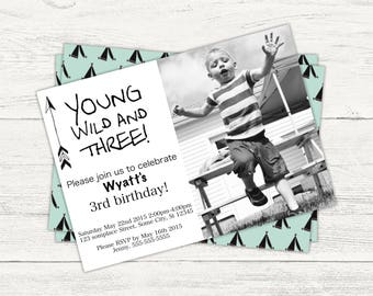 Young, wild and three digital birthday invitation