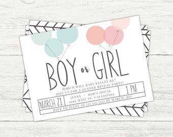 Gender reveal party digital invitation