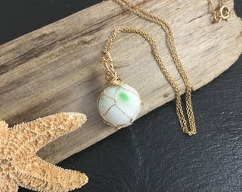 Hawaiian sea marble , hawaiian jewelry, japanese float, milky marble , reversible sea glass necklace, wrapped sea glass, upcycled glass
