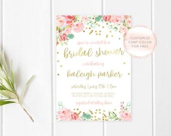 Bridal Shower Invitation, Bridal Shower Invite, Brunch Invitation, Bridal Shower Brunch, Brunch and Bubbly, Bride, Gold, Glitter, Love [622]