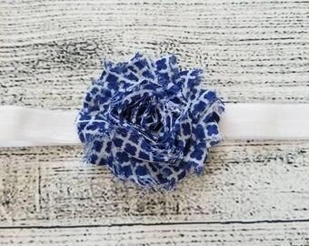 Blue and white checkered shabby chic flower headband