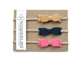 3 mini bow headbands - One Size Fits All Nylon - Camel, Navy, Coral