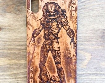 Predator Real Wood Phone Case Engraved iPhone 7/8 Plus, iPhone X, iPhone SE, 6, 6S Plus, Wooden Case, Galaxy S6, S7, S8, Edge, Phone Cover