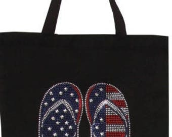 Stars and Stripes Flip Flops Rhinestone Tote Bag