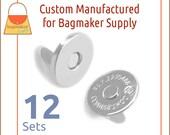 "18 mm Extra Thin Magnetic Snaps, Nickel Finish, 12 Set Pack, Purse Handbag Bag Making Hardware Supplies, 3/4"", 3/4 Inch, BSN-AA035"