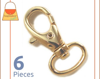 """1/2 Inch Swivel Snap Hooks, Gold Finish, Lobster Claw, 6 Pieces, Handbag Purse Bag Making Hardware, 1/2"""", .5 Inch, .5"""", SNP-AA017"""