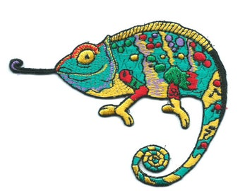 Chameleon On Patch Embroidered Applique