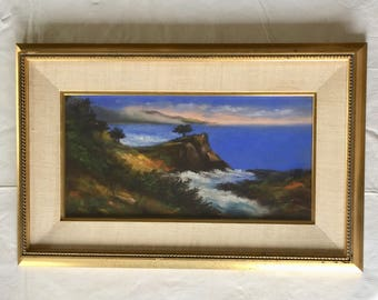 Pastel of Lone Cypress in Pebble Beach by John LeMon