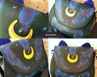 Sailor moon Luna bag. Galaxy bag. Cat bag. Unique bag. Moon bag