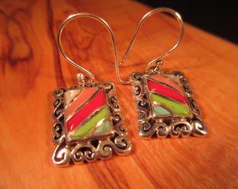 Tribal Sterling Silver Multi Stone Earrings