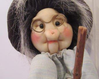 Vintage Kitchen Witch-Scandinavian Kitchen Witch Doll on Broom-Flying Kitchen Witch-Collectible Cottage Witch-Rare Kitchen Witch Doll
