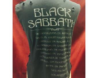 Custom Vintage Distressed Black Sabbath Tour Tshirt