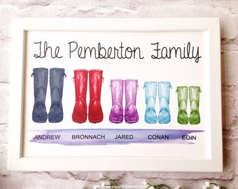 Wellie boot personalised framed print - garden boot print