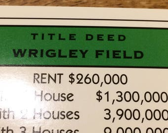 Wrigley Field Monopoly Property Deed from Here and Now Monopoly Game for the Chicago Cubs Fan