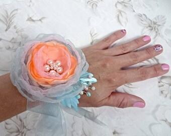 "Peach  Fabric Flower ( Headband, Hair clip, Brooch, Wrist corsage, Floral bracelet)  ""Spring breeze"""