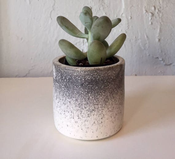 Ceramic mini planter- handmade- ombré Black and white