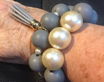 Gray and Pearl Stack Bracelets
