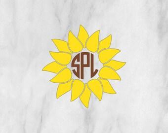 Monogram Sunflower Decal / Monogram sticker / yet cooler monogram decal / laptop decal / car decal /circle monogram