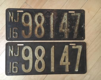 Pair of 1916 NJ License Plates. New Jersey Set.