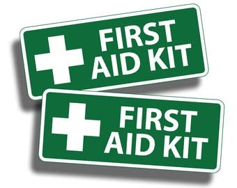 Green First Aid Kit Stickers Decal Camp Boat Kayak SUP Camp Kid Family Jeep atv  SxS Baseball Field Game DIY Truck Car RV  Safe Safety