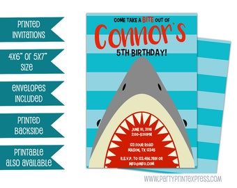 Shark Birthday Invitations - Shark Invitation - Pool Party Invites - 1st 2nd 3rd 4th 5th - Boy Shark Invitations - shark bite mouth