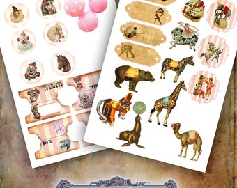 2 Pink Circus Collage Sheets