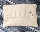White Clutch / Vegan Leather Clutch / White Vegan Leather / Clutch Strap / Cream Clutch / Clutch Bag / Clutch Purse / Wristlet Strap / Leath