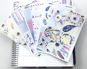 FOILED Boho Feathers Full Planner Sticker Kit, 6 Sheets