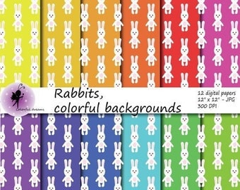 christmas sale paper for kids paper with rabbits digital paper scrapbooking papers