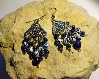 Porcelain beads and gemstones earrings