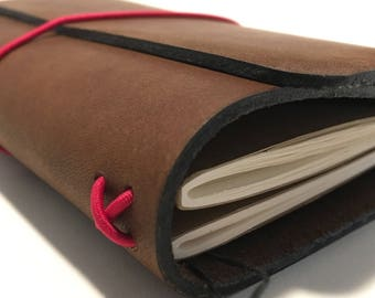All Sizes Classic Brown Trifold Fillion Leather Refillable Journal for Moleskine, Field Notes, Custom made by Little Mountain Bindery