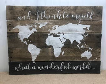 Wonderful World Sign - World Map Sign - Rustic Map Sign - Rustic Pallet Wall Art - Rustic Pallet Wall Art - Gift for Explorer - Wooden Map