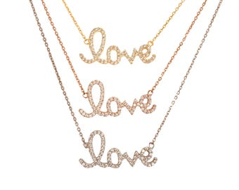 Love Necklace With Brilliant Zirconia, A Sweet Declaration of Love, The Perfect Love Gift For Her • Safe to Get Wet