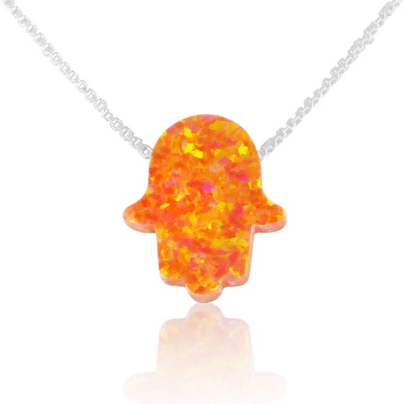 Orange Opal Hamsa Necklace on a Gold Plated Sterling Silver Chain • 2 Chain Styles and 6 Chain Lengths to Choose From • Waterproof