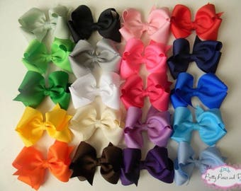 Hair Bow Package, Bow Package, Solid Hair Bow Package, 3.5 inch Hair Bows, Pink Hair Bow, White Hair Bow, Baby Shower Gift, Hair Bow Deal