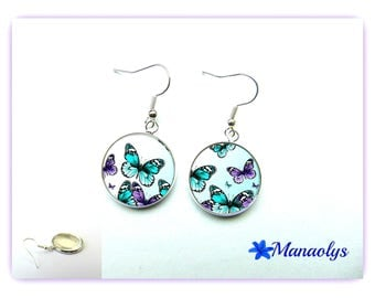 Earrings cabochon glass turquoise and purple butterflies 741