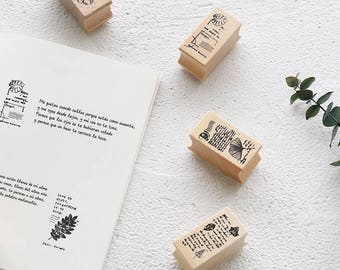 The Poems of Leaf , Wood Rubber Stamp